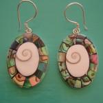 Abalone and Shiva Eye Oval Drop Earrings