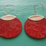 Red Sponge Coral Large Round Drop Earrings