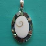 Abalone and Shiva Eye Oval Pendant