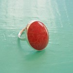 Oval Red Sponge Coral Ring
