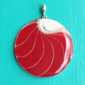 Nautilus Large Round Two Sided Red Pendant