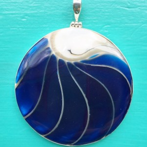 Nautilus Large Round Two Sided Blue Pendant