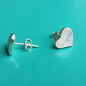 Small Mother of Pearl Heart stud earrings
