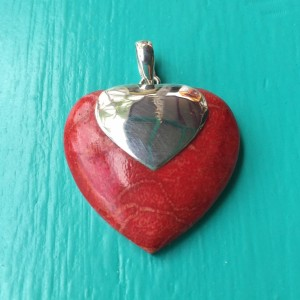 Red Sponge Coral Heart Pendant