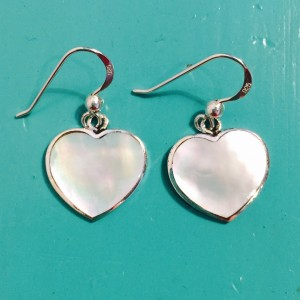 Mother of Pearl Fancy Heart Drop Earrings