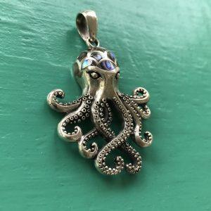 Sterling Silver Abalone Octupus Pendant