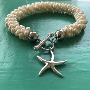 Pearl Bracelet with Sterling Silver Starfish Charm