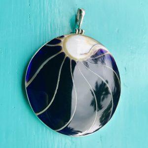 Nautilus Large Round Two Sided Purple Pendant