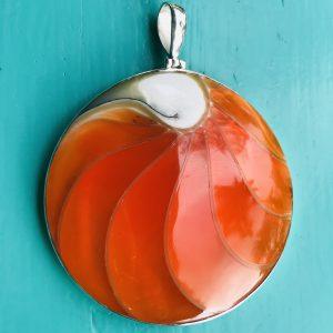 Nautilus Large Round Orange Pendant