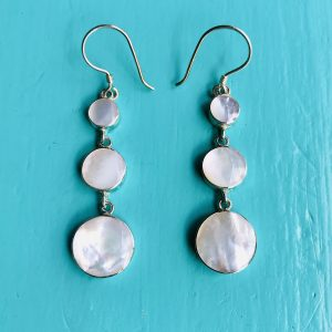 Mother of Pearl 3 Round Drop Earrings