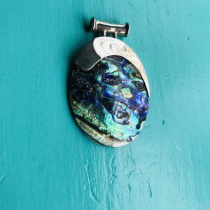 Large Abalone Pendant with Sweeping Silver Side