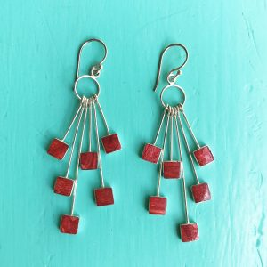 Red Sponge Coral Multi Squares Drop Earrings