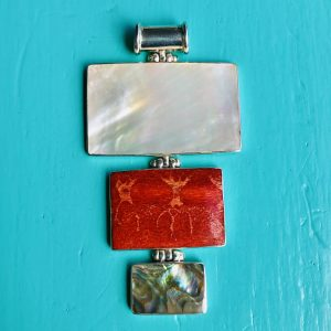 Mother of Pearl Abalone and Red Sponge Coral 3 Rectangles Large Pendant