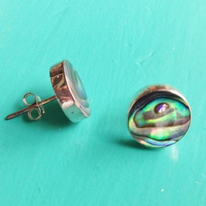 abalone round stud earrings