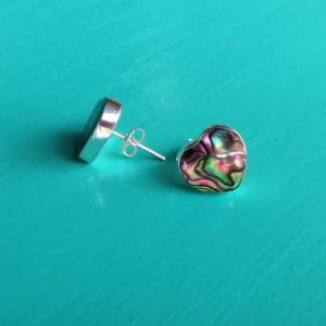 abalone heart stud earrings