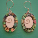 Abalone and Shiva Eye Oval Drop Earrings