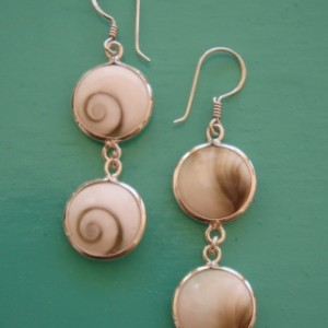 Shiva Eye Double Round Drop Earrings