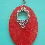 Handcrafted Red Sponge Coral Oval Pendant