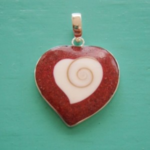 Red Sponge Coral and Shiva Eye Heart Pendant