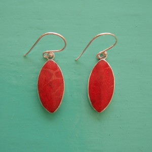 Red Sponge Coral Oval Drop Earrings