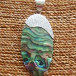 Abalone Oval with Brushed Silver Top Pendant