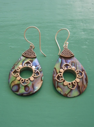 Unusual abalone teardrop earrings with decorative hole for Decoration hole