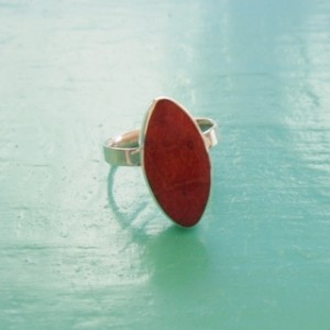 Small Oval Red Sponge Coral Ring