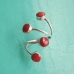 4 rounds Red Sponge Coral Ring