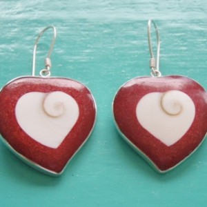 Red Sponge Coral Shiva Eye Heart Earrings