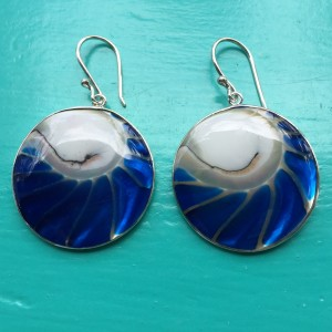 Nautilus Round Two Sided Blue Earrings