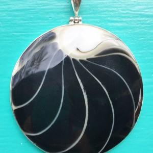 Nautilus Large Round Two Sided Black Pendant