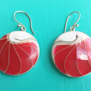 Nautilus Round Two Sided Red Earrings