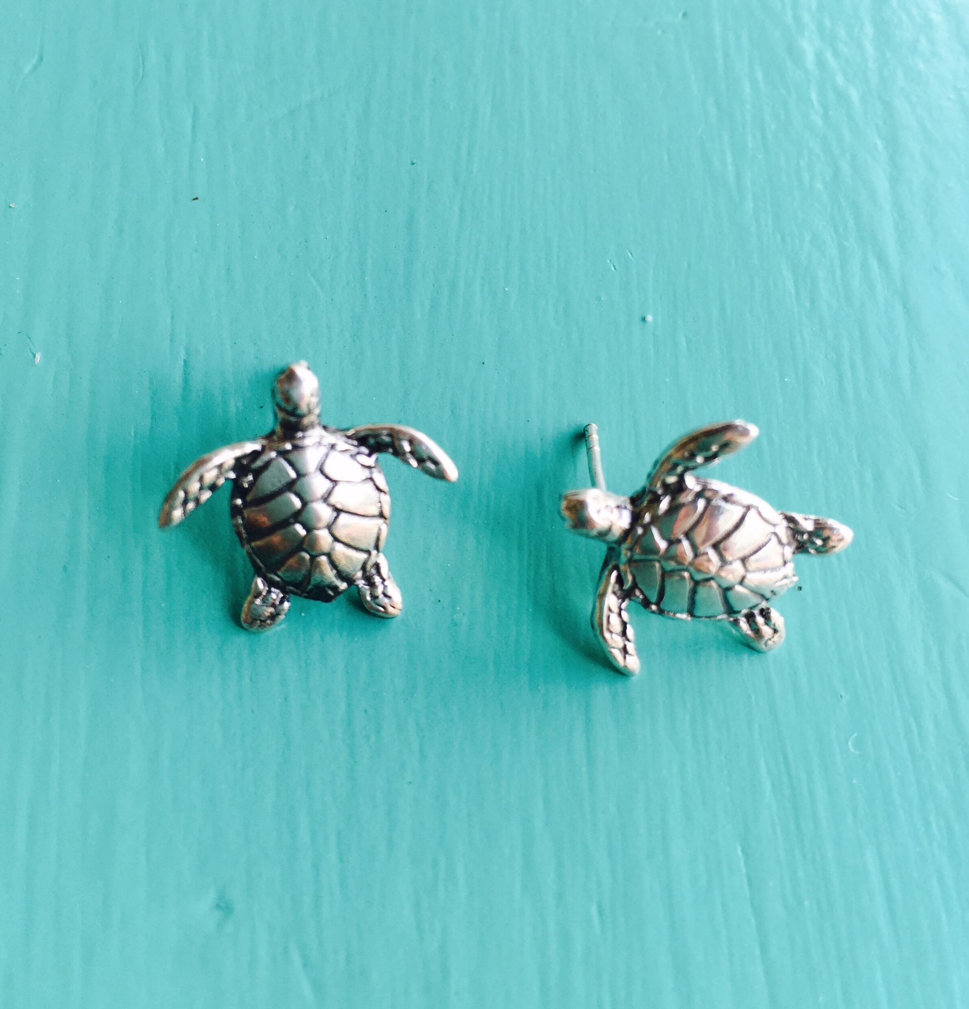 paradise stud i turtle spade gold goldblue earrings blue plated found kate
