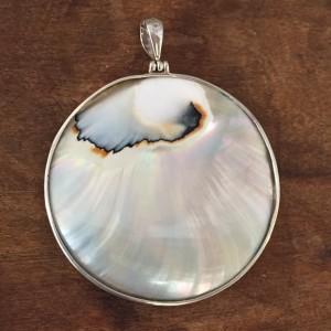 Nautilus Large Round Two sided Turquoise Pendant