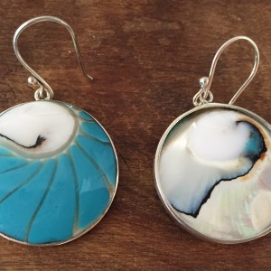 Nautilus Round Two Sided Turquoise Earrings