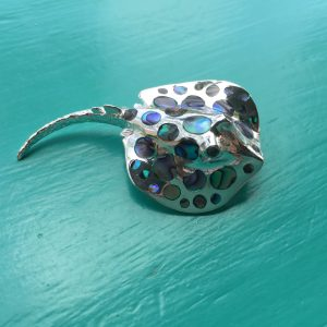 Abalone Large Sterling Silver Stingray Pendant