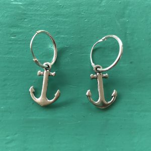 Sterling Silver Hoop Anchor Earrings