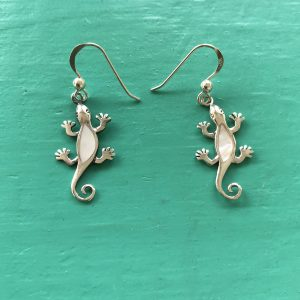 Gecko Mother of Pearl Drop Earrings