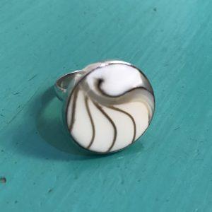 Round White Nautilus Ring Small