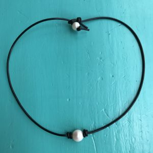 Pearl on a Leather Necklace 16 inch