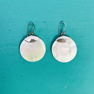 Mother of Pearl Large Round Earrings