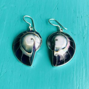 Purple Nautilus Earrings