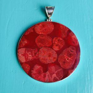 Red Sponge Coral Round Pendant