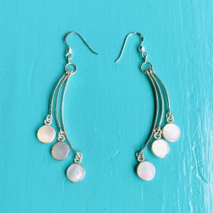 Mother of Pearl 3 Rounds Drop Earrings