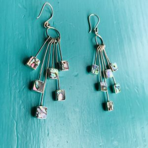 Abalone Multi Squares Drop Earrings