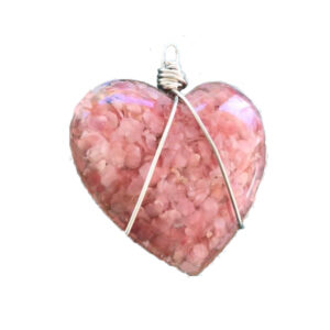 Pink sand large heart pendant